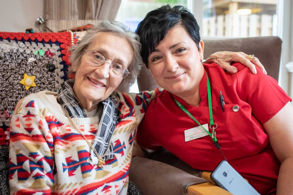 resident & carer at Moorland Gardens Care Home, Luton